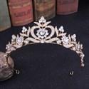 Enchanting Crystal Alloy Baroque Leaf Princess Crown Wedding Tiaras
