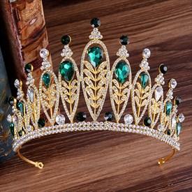 Alloy Baroque Rhinestones Leaf Princess Crown Bridal Tiara