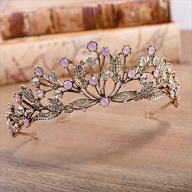 Vintage Alloy Leaf Rhinestones Princess Crown Bridal Tiara