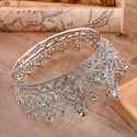 Classic Alloy Baroque Crystal Beaded Bridal Tiara in Round