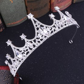 Alloy Crystal Princess Crown Bridal Tiaras With Rhinestone Accents