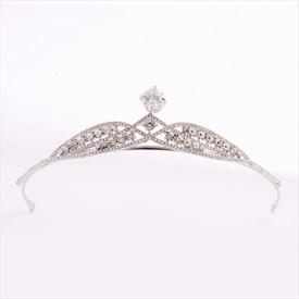 Alloy Zircon Princess Crown Bridal Tiaras With Rhinestone Accents