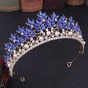 Stylish Baroque Alloy Crystal Leaf Princess Crown Bridal Tiara