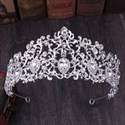 Charming Alloy Leaf Large Glass Drill Bridal Tiara Princess Crown