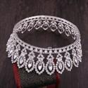 Glittery Alloy Baroque Beaded Bridal Tiara In Round