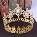 Alloy Baroque Rhinestones Beaded Bridal Tiara In Round