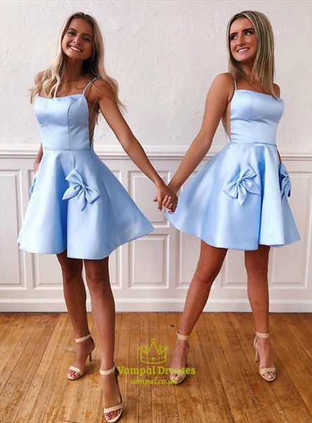 Blue Short A-Line Spaghetti Straps Homecoming Dress With Side Cutouts