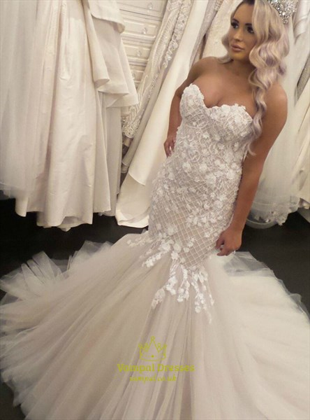 Ivory Mermaid Strapless Sweetheart Lace Applique Tulle Wedding Dresses