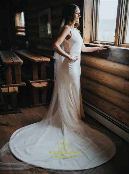 Vintage Ivory Sleeveless Mermaid Wedding Dress With Open Back