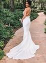 Ivory Mermaid Deep V Neck Sleeveless Backless Wedding Dress With Train