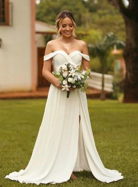 Ivory Off The Shoulder Sweetheart Neckline Wedding Dresses With Split