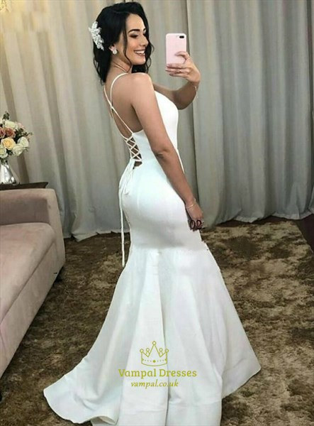 Ivory Mermaid V-Neck Spagehtti Straps Wedding Dress With Strappy Back