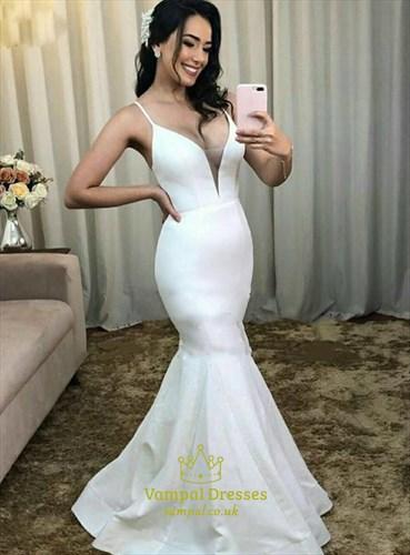 Ivory Mermaid V-Neck Spagehtti Straps Wedding Dress With Strappy Back