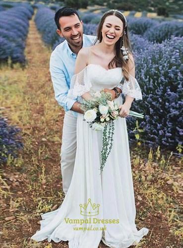 Ivory Chiffon Spagehtti Straps Beach Wedding Dress With Flutter Sleeve
