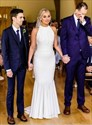 White Mermaid High-Neck Wedding Dresses With Button Back Detail