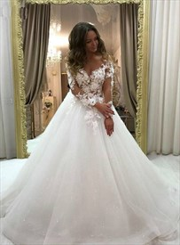 Ivory Illusion Neckline Lace Applique Wedding Dress With Long Sleeves