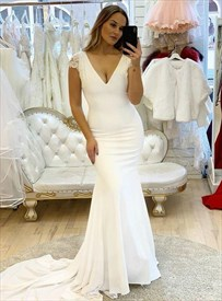 Mermaid Ivory Deep V-Neck Backless Wedding Dresses With Cap Sleeves