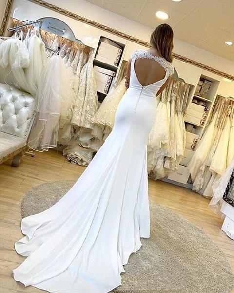 Mermaid Ivory Deep V-Neck Backless Wedding Dresses With Cap Sleeves