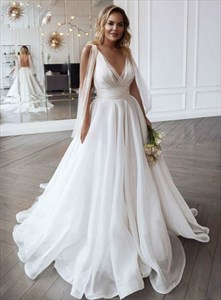 Deep V Neck Sleeveless Pleated Organza Wedding Dresses With Open Back