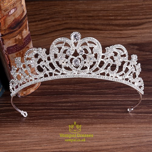 Alloy Bridal Tiara Princess Crown With Rhinestone Accents