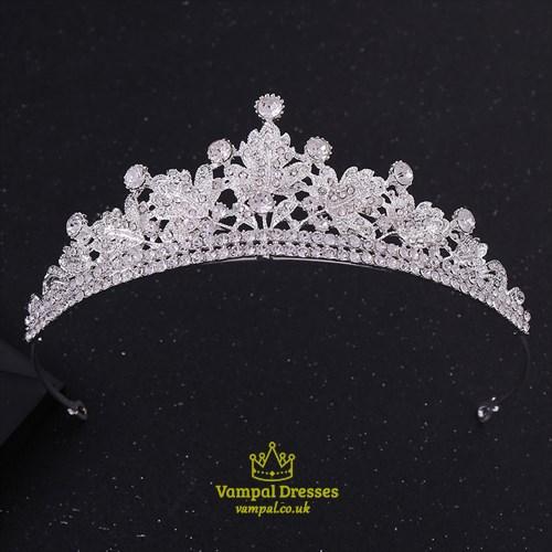Alloy Leaf Bridal Tiara Princess Crown With Rhinestone Accents