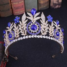 Glamorous Crystal Leaf Alloy Bridal Tiara Princess Crown
