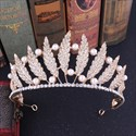 Baroque Alloy Leaf Bridal Tiara Princess Crown with Pearls