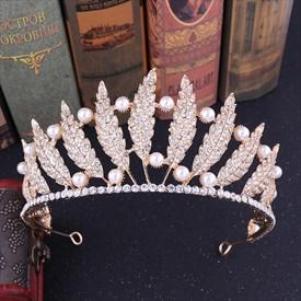 Baroque Alloy Leaf Bridal Tiara Princess Crown with Pearls
