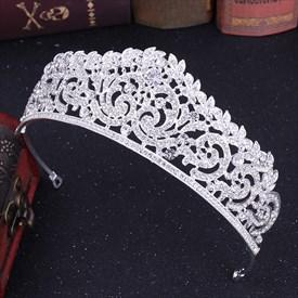 Modern Alloy Crystal Bridal Tiara With Rhinestone Accents