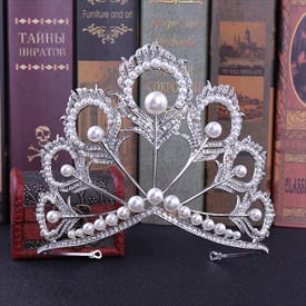 Alloy Crystal Peacock Feathers Bridal Tiara With Pearls