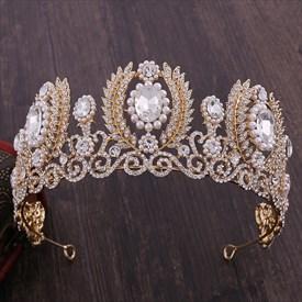 Baroque Leaf Crystal Bridal Tiara With Rhinestone Accents