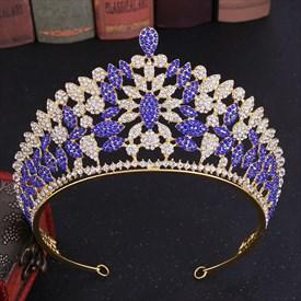 Stylish Crystal Alloy Beauty Contest Leaf Bridal Tiara