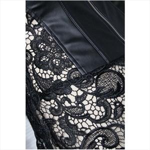 Leather Lace Applique Embellishment Corset With Straps