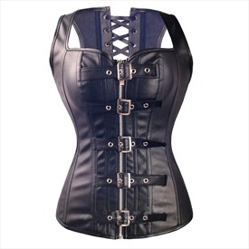 Steampunk PU Leather Steel Boned Sweetheart Neckline Shaper Corset