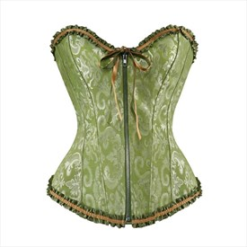 Sweetheart Embroidery Zip Front Shaper Corset With Ruffled