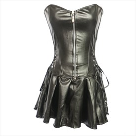 Black Strapless Leather Zip Front Basque Shaper Corset