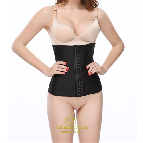 Black Halter Leather Shaper Corset With Strappy Back