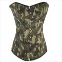 Green Camouflage Strapless Shaper Corset With Boning