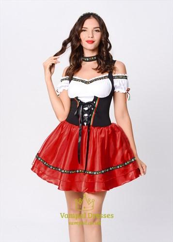 Authentic Red Deutsch Oktoberfest Kellnerin dirndl Maid 1950s Costume