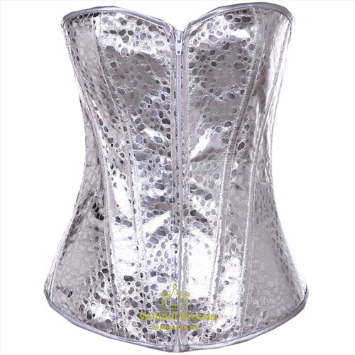 Silver Strapless Shaper Corset With Boning
