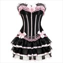 Striped Contrast Two Piece Corset Dress With Lace Trim