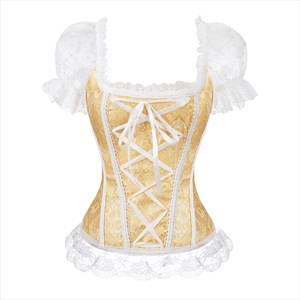 Contrast Court Shaper Corset With Short Lace Sleeves
