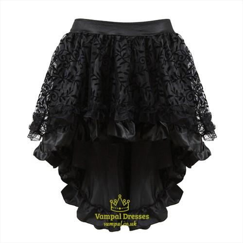Irregular Flocked High Low Corset Skirt With Zipper