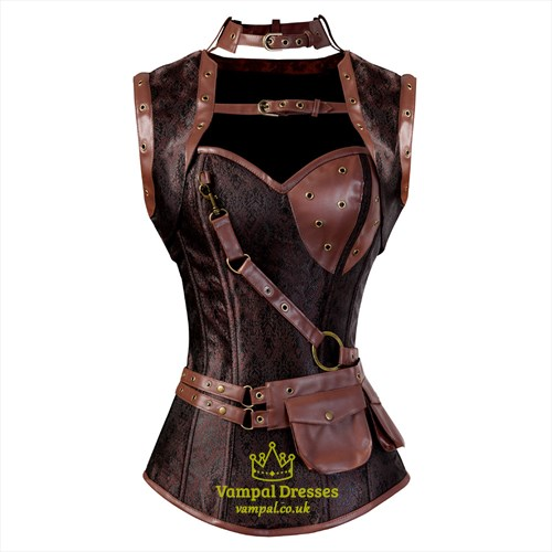 Brown Gothic Steampunk Leather Two Piece Shaper Corset