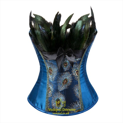 Strapless Peacock Feathers Shaper Corset