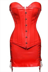 Two Piece PU Steampunk Steel Boned Shaper Corset Dress