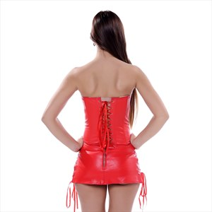 Two Piece PU Steampunk Steel Boned Shaper Corset Dress