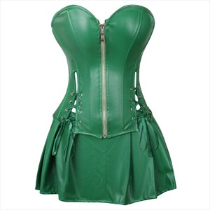 Two Piece PU Leather Steampunk Shaper Corset Dress
