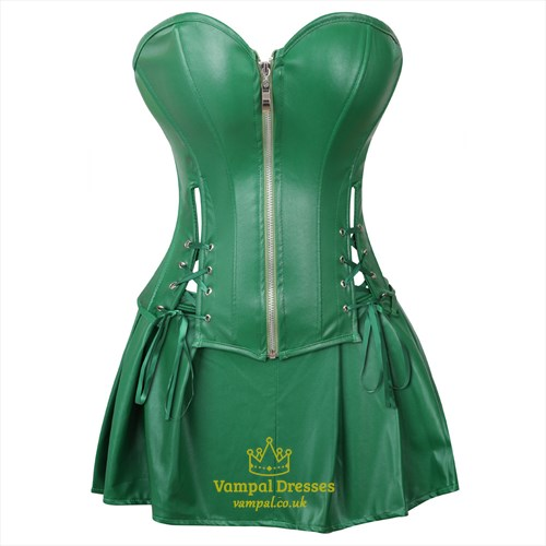 Two Piece PU Leather Steampunk Shaper Corset Dress