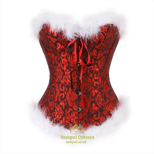 Christmas Role Play Jacquard Shaper Corset With Feathers Trim